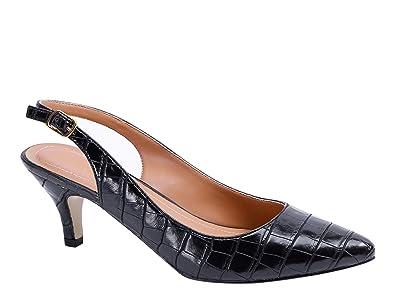 d0e9dae2a63 Greatonu Womens Kitten Heels Slingback Low Heels Court Shoes: Amazon ...