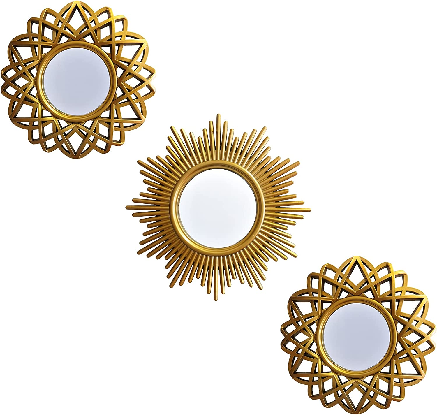 Gold Mirror Sets for Wall Decor Set of 3 Round Mirror Vintage Wall Decorations for Living Room, Bedroom, Dinning Room (Style 1)