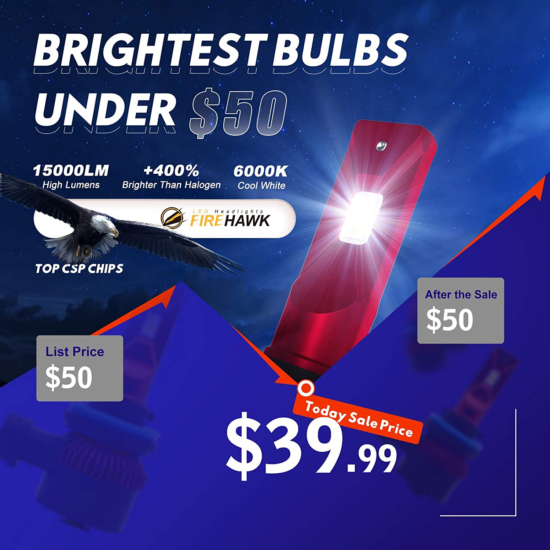 Firehawk 2021 New H1 LED Headlight bulbs 15000LM Japanese CSP Pack of 2 6000K Cool White 200/% Night Visibility 400/% Brightness