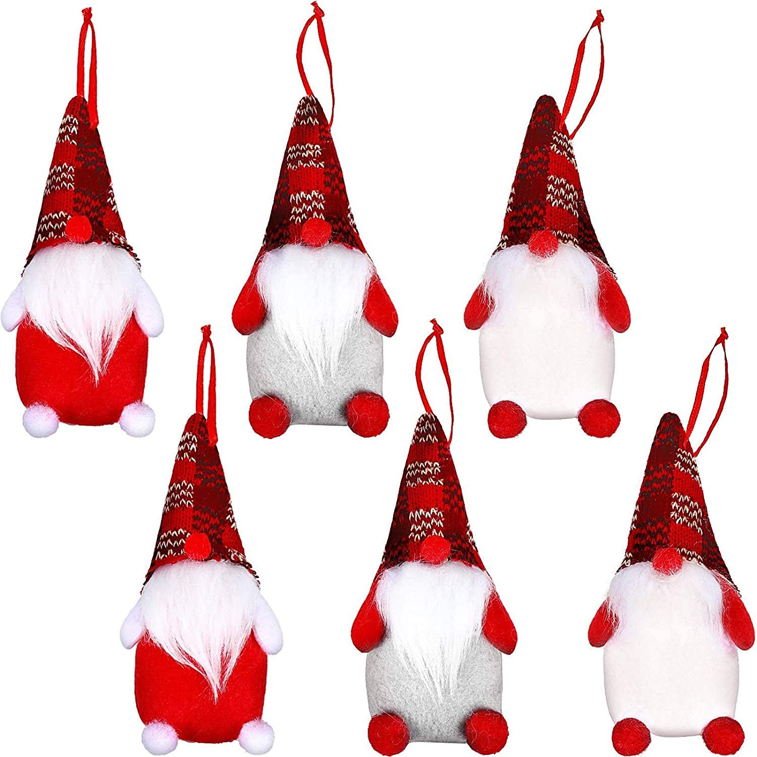 6 Pieces Gnome Christmas Ornaments Handmade Swedish Tomte Santa Plush Ornament for Home Holiday Christmas Hanging Decorations Xmas Gifts