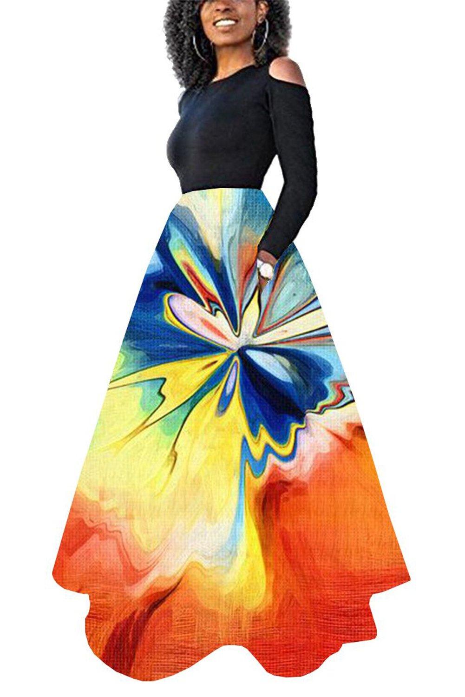 Novia's Choice Women African Floral Print Pleated High Waist Maxi Skirt Casual A Line Skirt(Ink Printing L)