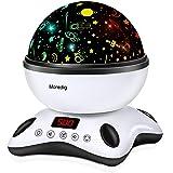 Moredig Lámpara Proyector Estrellas, 360° Rotación Músic Lampara con Temporizador led Pantalla y Control Remoto, 8 Modos…