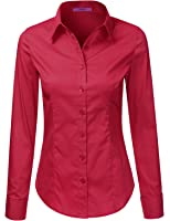 LA BASIC Women's Long Sleeve Button Down Collared Shirts S-3XL (38 Colors)