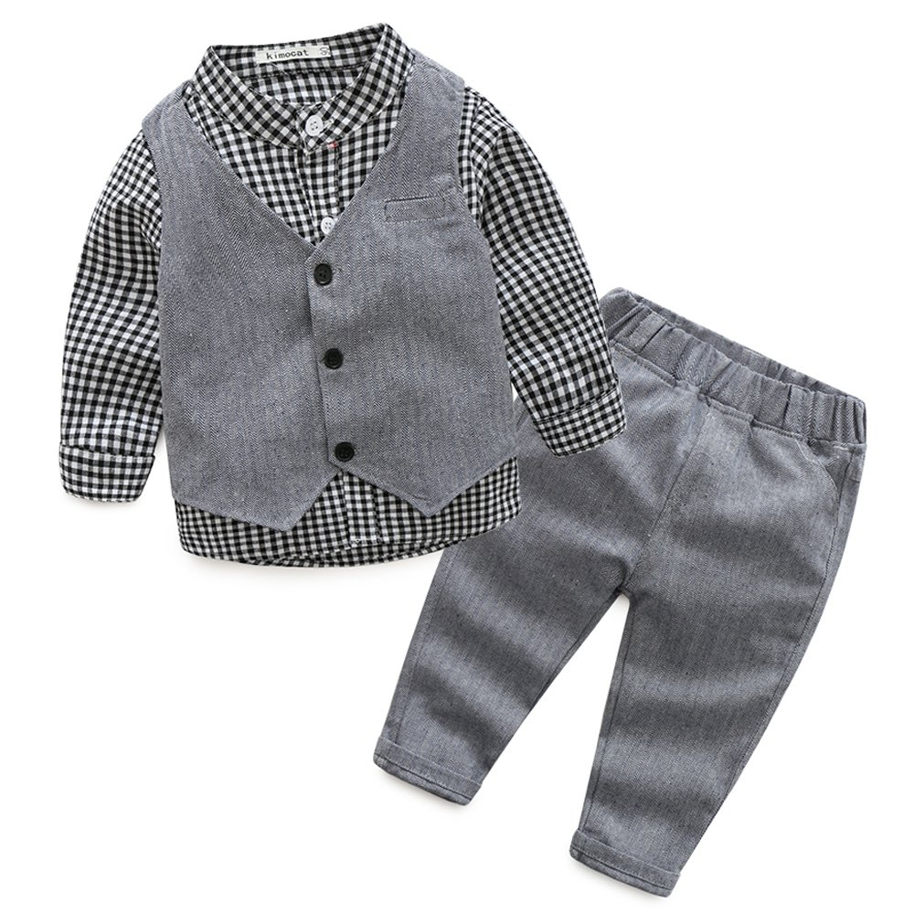 Baby Boy Suit Set Plaid Shirt Vest and Pants Clothes Gentleman Outfits with Bow Tie Xiangwu
