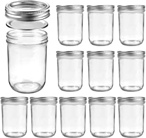 Luckore Mason Jars Wide Mouth 16 oz Set of 12, Canning Glass Jars with Metal Airtight Lids, Ideal for Meal Prep, Food Storage, Canning, Fermenting, Jam, Honey, Yogurt, Jellies