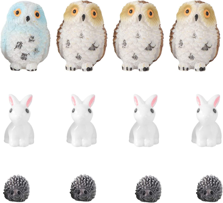 Cabilock 12pcs Mini Resin Animal Ornaments Miniature Owl Hedgehog Rabbit Figurines Fairy Garden Accessories Flower Pots Micro Landscape Decoration Supplies