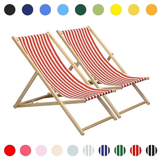 Harbour Housewares Tumbona reclinable y Plegable - Ideal para Playa y jardín - Estilo Tradicional - Rayas Rojas/Blancas - Pack de 2