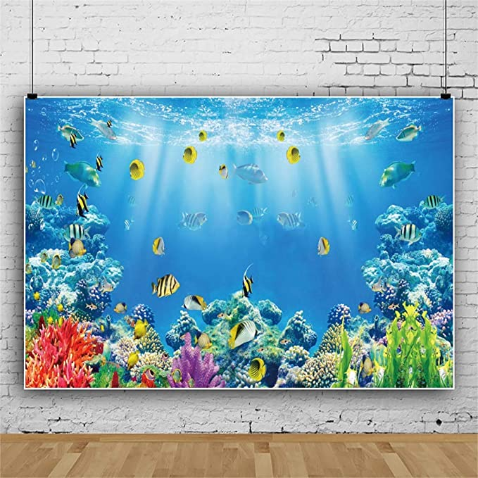 DaShan 6x4ft Polyester Under The Sea Backdrop Underwater Aquarium Deep Ocean Blue Sea Coral Reef Summer Home Decor Photography Background Child Kid Sea Themed Birthday Party Decor YouTube Photo Prop