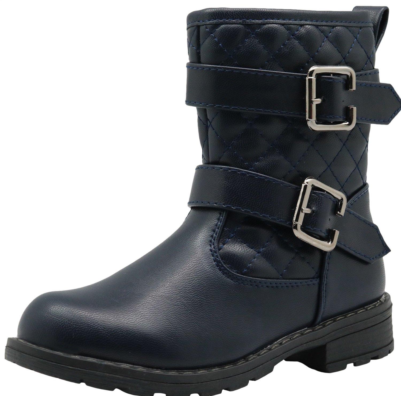 Apakowa Autumn Girls Flat Riding Boots (Little Kid) (Color : Navy, Size : 13 M US Little Kid)