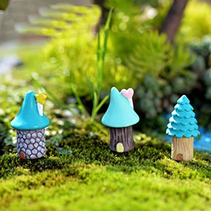 3 Pcs Creative Micro Fairy Garden Figurines Resin Mini Blue House Tree  Miniatures/Terrarium Decor