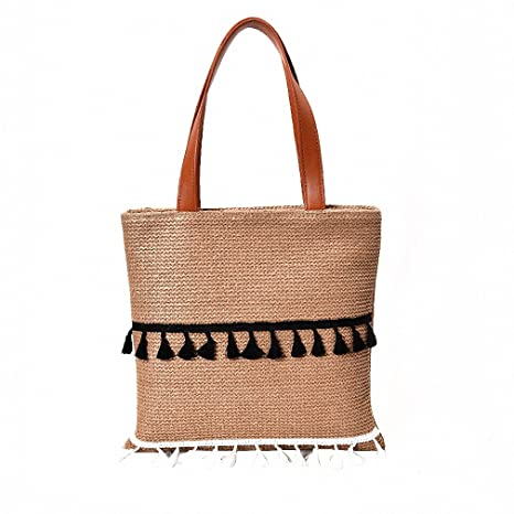 Amazon.com  Summer Fashion Straw Bags for Women Tassel Shoulder Beach Bag  Boho Woven Handbags Bucket Basket Beige  Sports   Outdoors eea323cefff94