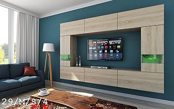 FUTURE 29 Moderno Conjunto De Muebles De Salón, Módulo Bajo Para TV Y Multimedia, Exclusiva Unidad De Entretenimiento, Mueble TV, Suite A Estrenar, ...