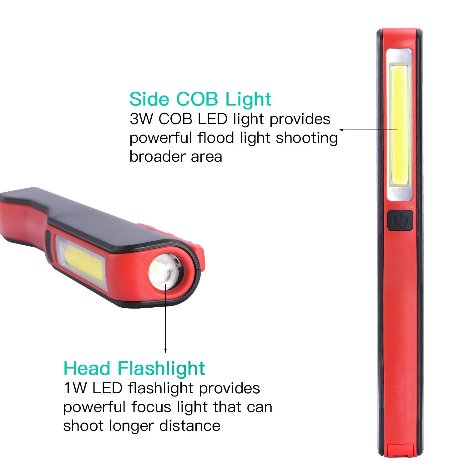 COB LED Work Light, Rechargeable Mechanic Inspection Lamp Worklight Portable Hand Pocket Pen Flashlight Flood Beam with Rotating Magnetic Strip Clip for Household, Workshop, Camping, Car Repairing by Ausein (Image #2)