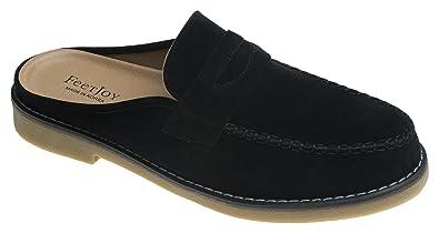 b9169fb6fb4 AGOS Mens Penny Strap Mules Open Back Loafer Slip-On Dress Slippers Black