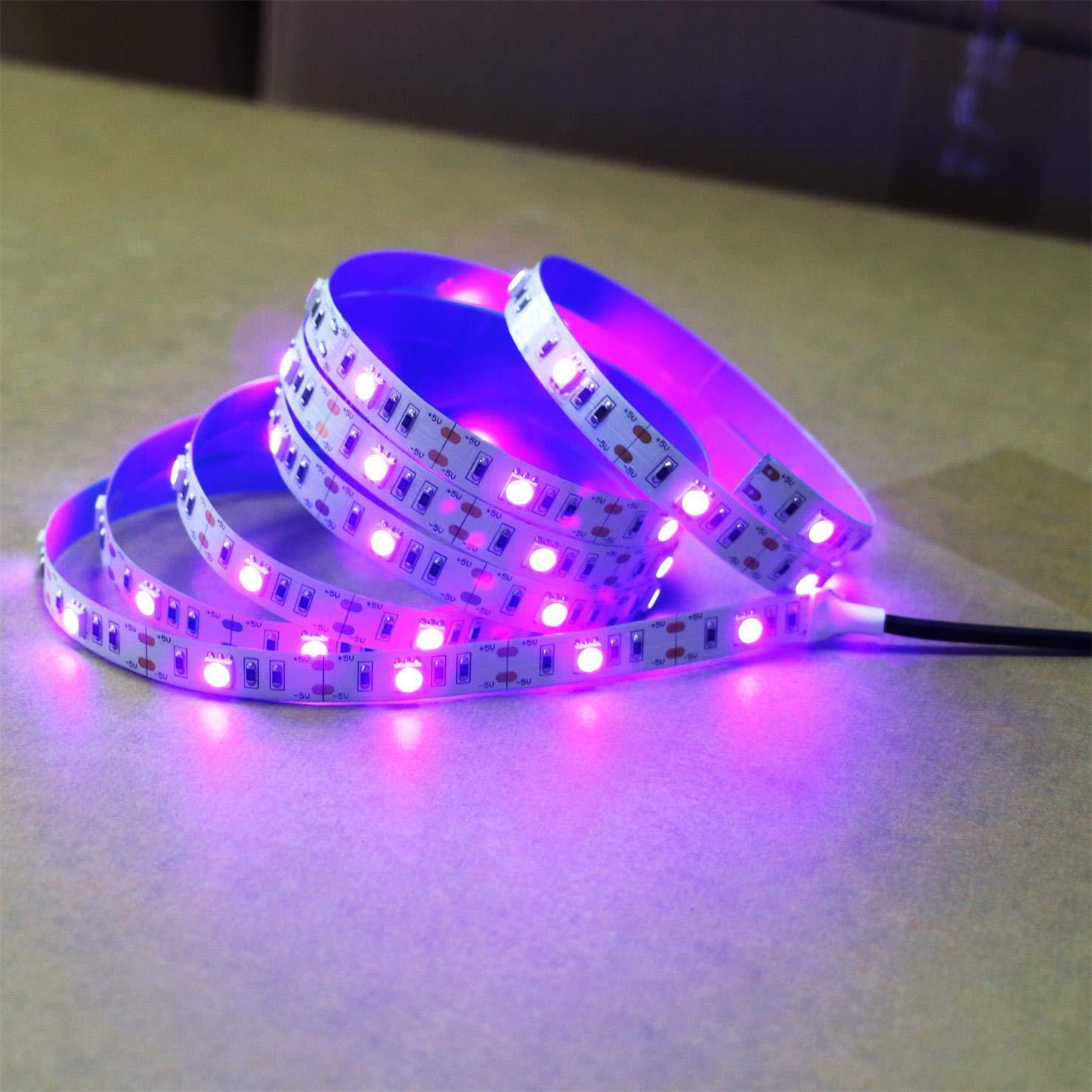 Uv Black Lights Led Strip Dc12v 5050 Smd 2m 66ft 395nm 405nm 12 Volt Light Wiring Diagram Free Picture Flexible Ultraviolet Fixture