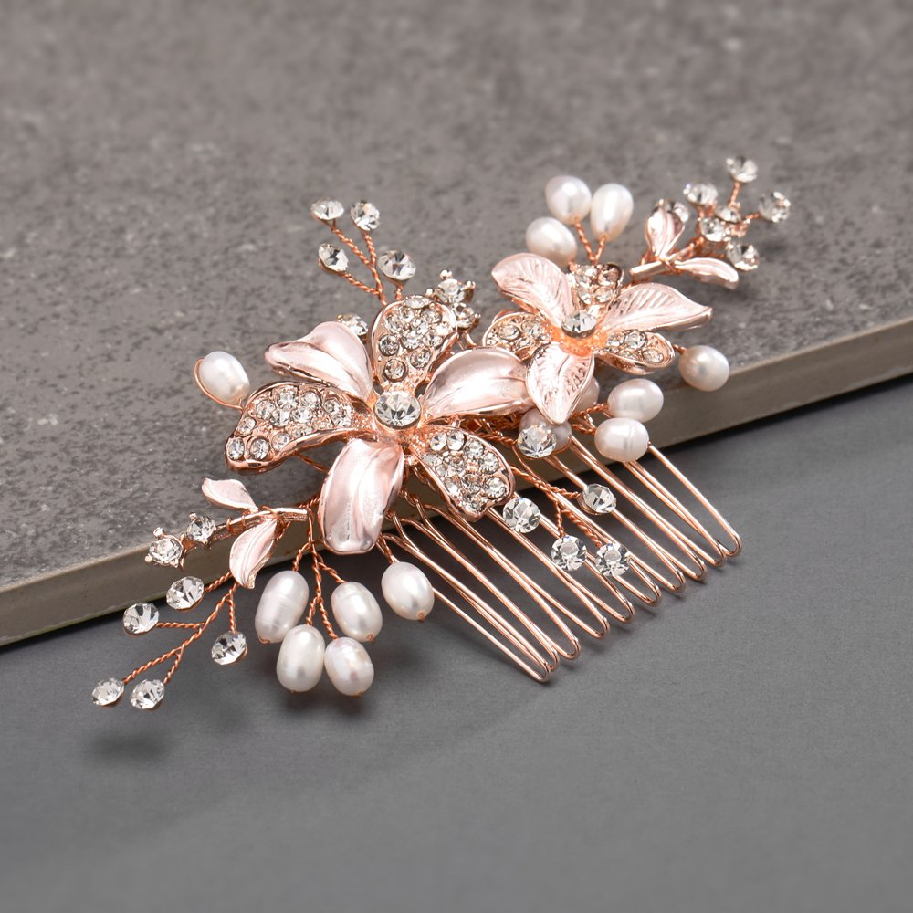 Mariell Rose Gold Bridal Comb Freshwater Pearl, Hand-Painted Enamel Leaves Austrian Crystals by Mariell (Image #6)