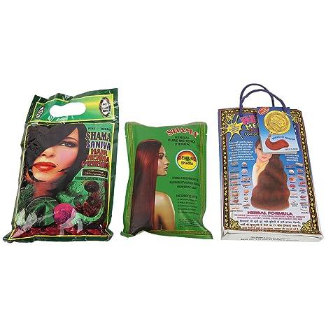 SHAMA Saniya Hair Mehandi, Herbal Pure Mehandi with Herbal Red Mehandi  Combo Set for Women and Girls - (150gms Each) - Pack of 3