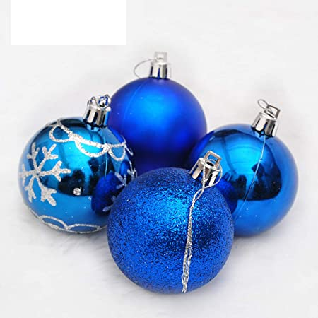 Solmore 4pcs 6cm Painted Gold Powder Mixed Type Christmas Light Ball Painted San Ball Decorative Gift Blue-A