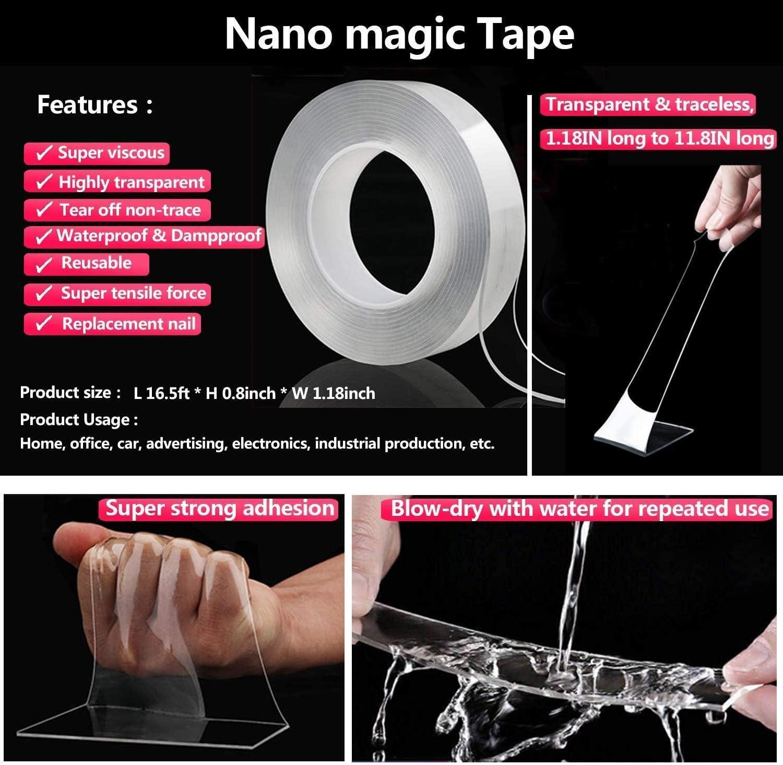Abnehmbar Hitzebest/ändig 5M R/ückstandsfrei Nano Tape,Waschbares Spurloses Klebeband,Doppelseitiges Klebeband Extra Starke,Multifunktionales Nano Magic Tape Wiederverwendbares Wasserdicht