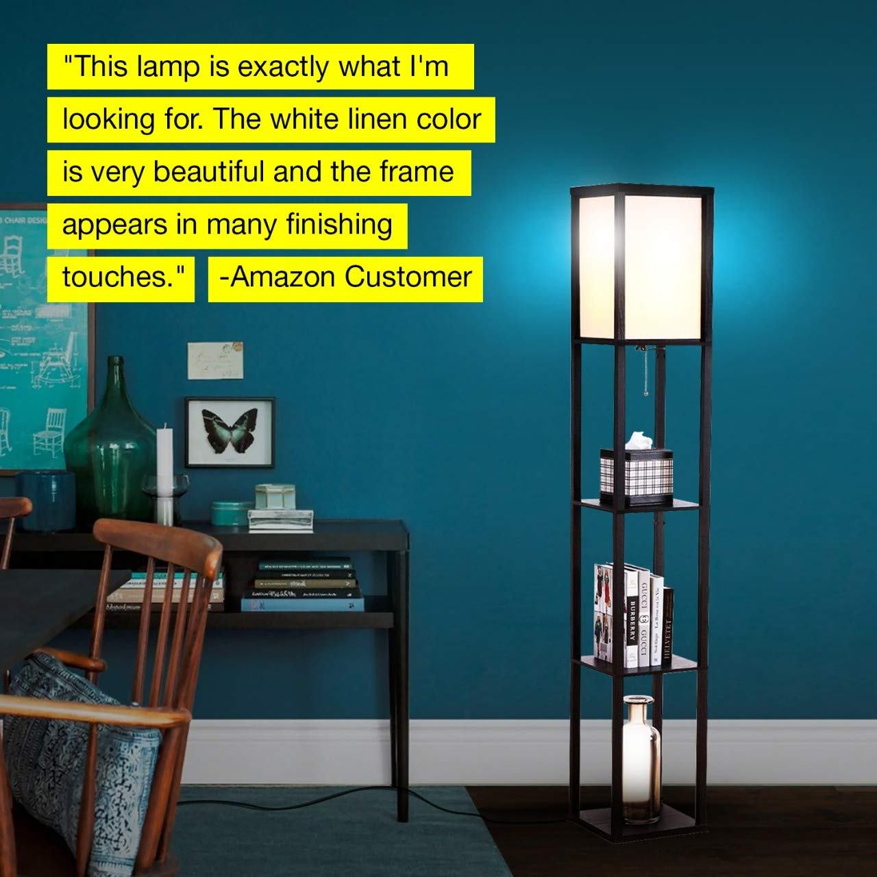 Brightech Maxwell - LED Shelf Floor Lamp - Modern Standing Light for Living Rooms & Bedrooms - Asian Wooden Frame with Open Box Display Shelves - Black by Brightech (Image #8)