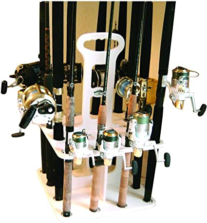 Fishing Rod Rack Holds 12 Rods and Reels Deep Blue Polymer  Rack Waterproof