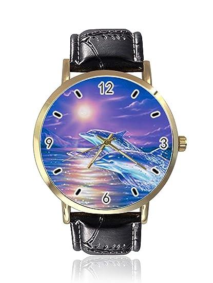 Fantástico Reloj de Pulsera de Piel Unisex con diseño de delfín Saltando y Puesta de Sol para Mujer y Hombre: Amazon.es: Relojes