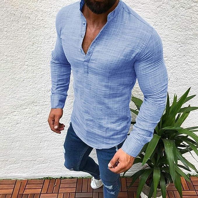 Blusa de Hombre, BaZhai, Camisetas de Hombre Abierta de Color sólido Lino Casual para Hombres del Camisas de Manga Larga para Hombre Polo con Cuello en V de ...