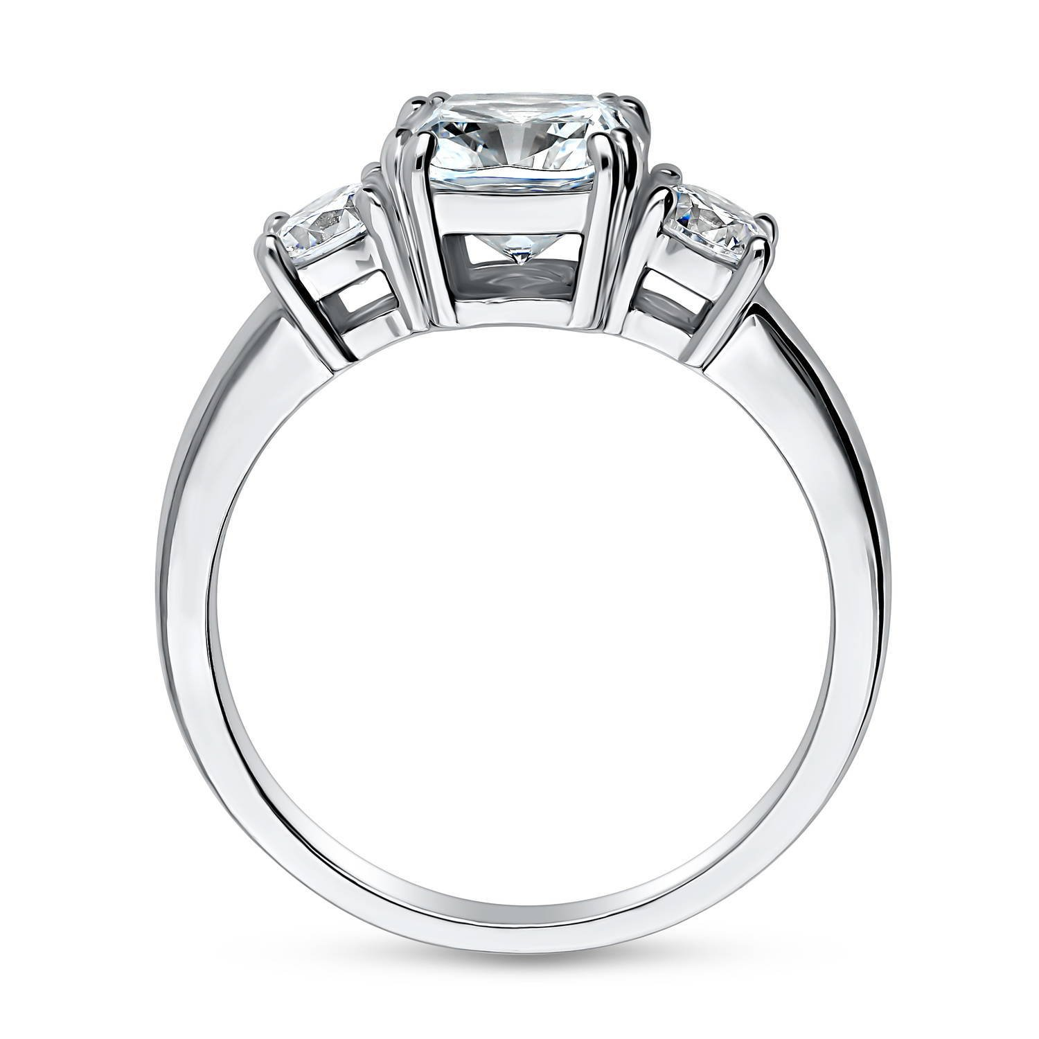BERRICLE Rhodium Plated Silver Cushion Cut Cubic Zirconia CZ 3-Stone Promise Engagement Ring Size 8.5 by BERRICLE (Image #4)