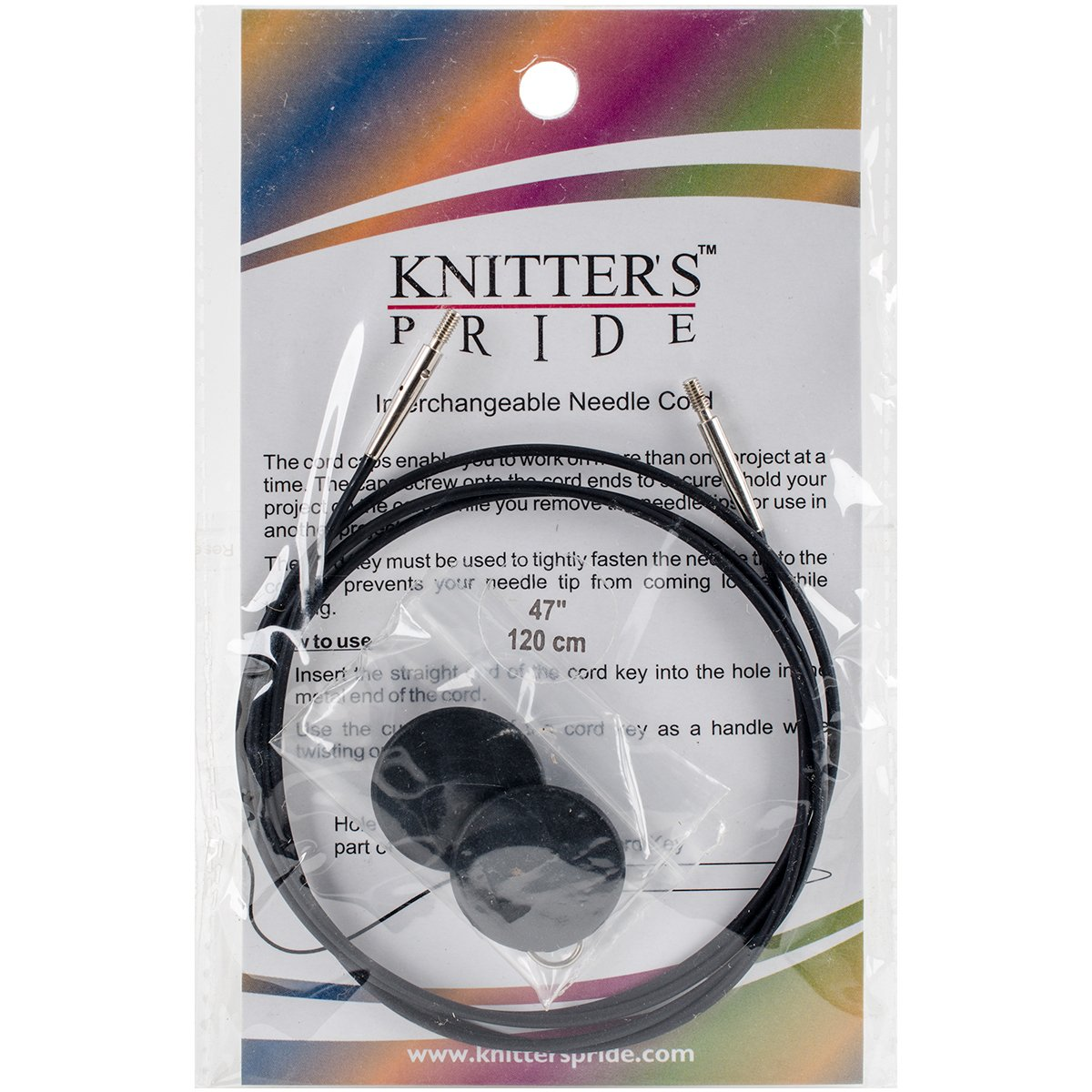 Knitter's Pride Interchangeable Cords 37 (47 w/ tips), Black Notions KP800105