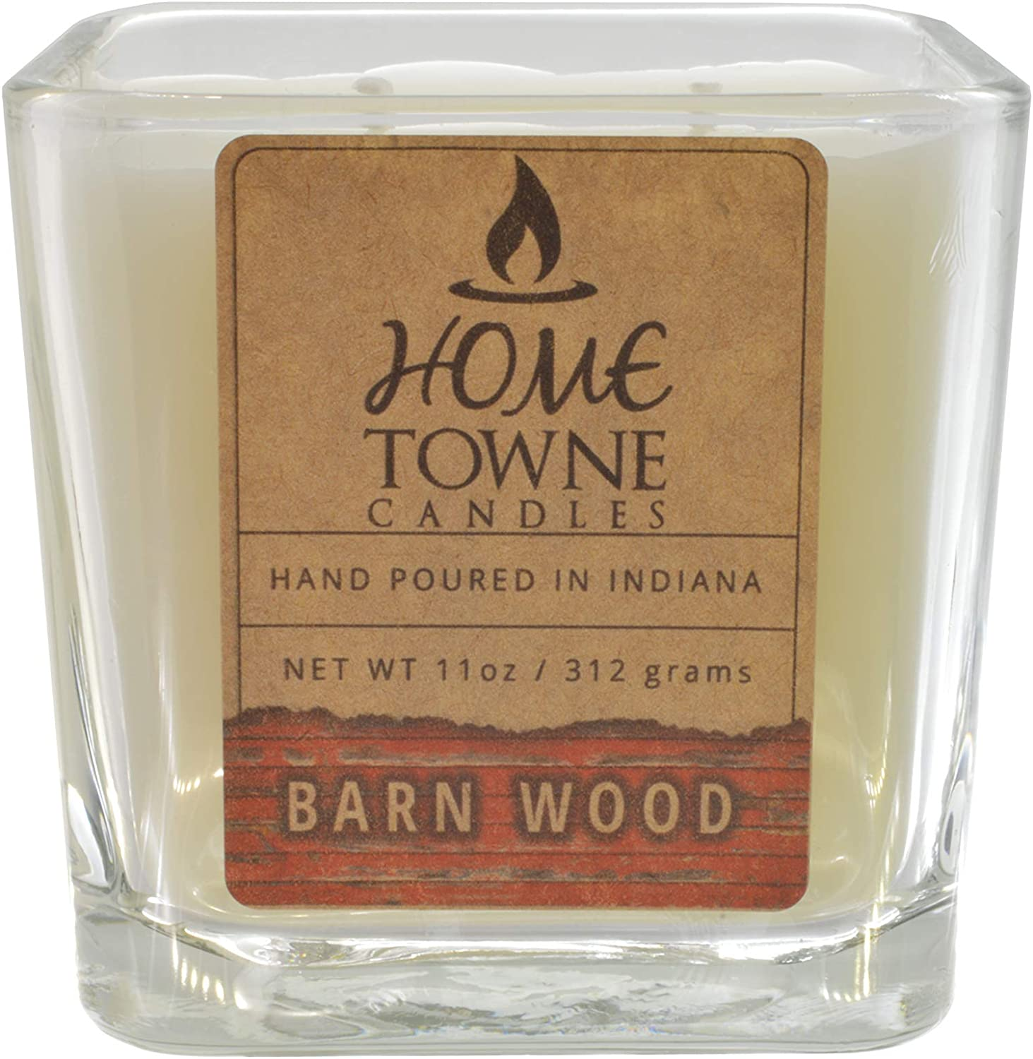 Home Towne Candles   11 Ounce Glass Jar Barn Wood Rustic Scented Candle   Hand Poured in The USA Soy Paraffin Wax Blend with Cotton Wick   White