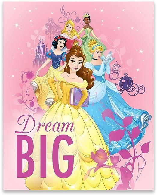 Disney Princesses Canvas Wall Art Poster Print Ariel Snow White Jasmine Cinderel