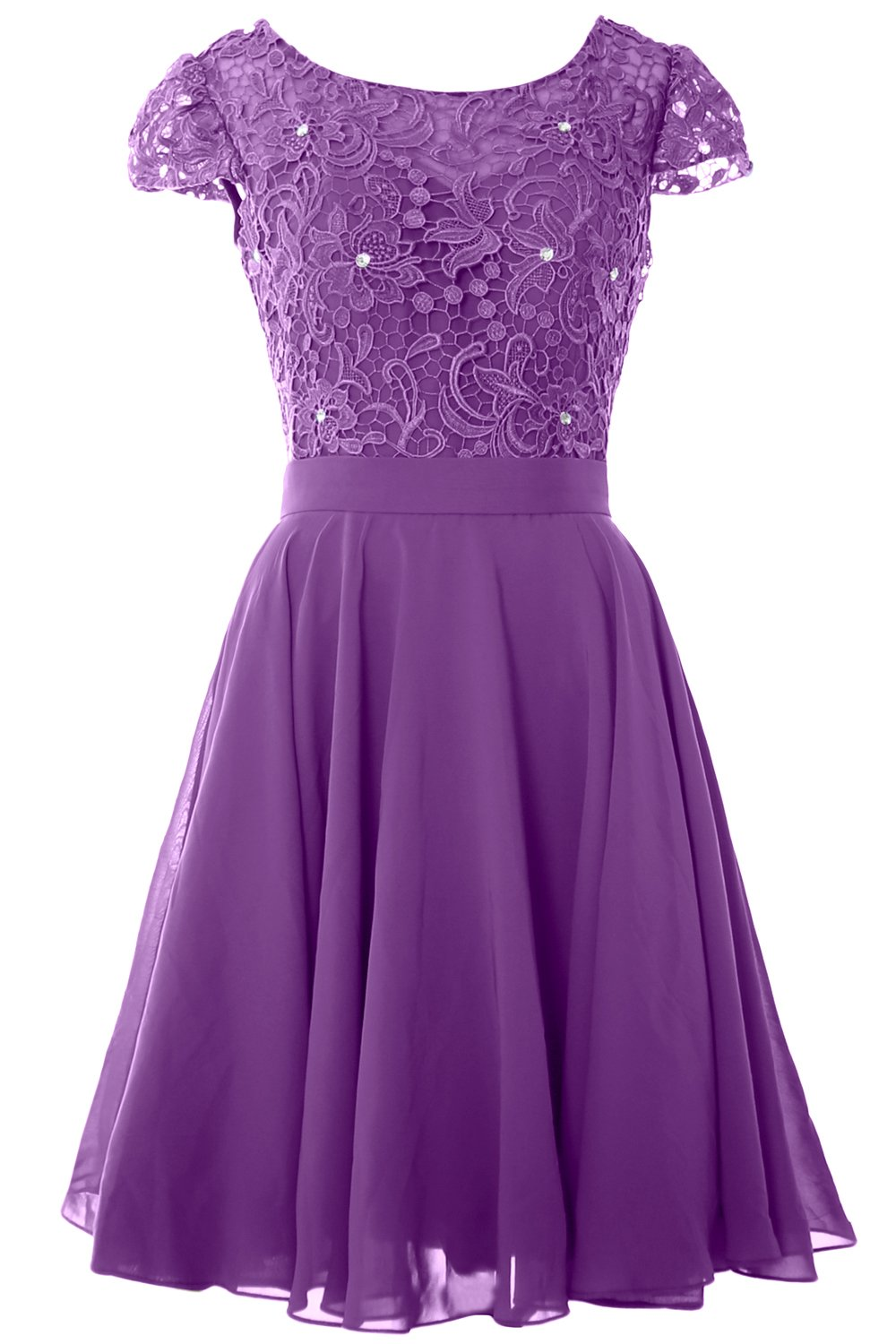MACloth Women Cap Sleeve Mother of The Bride Dress Lace Short Formal Party Gown (24w, Amethyst) by MACloth (Image #1)
