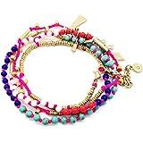 Dot & Line multi color beads versatile long necklace multi strands bracelet