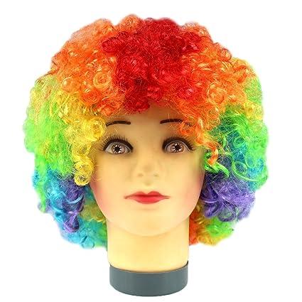 Hot moda Glamour Natural Fluffy peluca pelo Curl pelucas peluca fibra sintética fiesta discoteca payaso afro