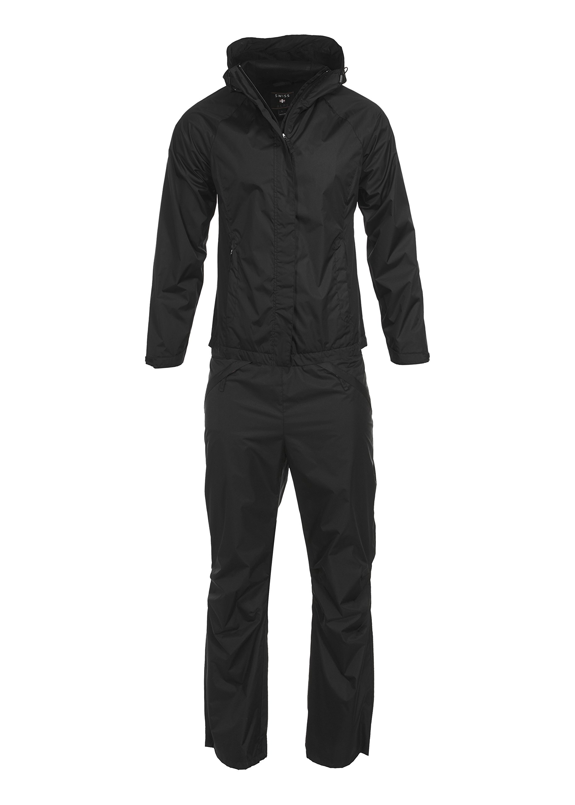 Swiss Alps Womens Ripstop Water-Resistant 2 Piece Rain Suit Black M