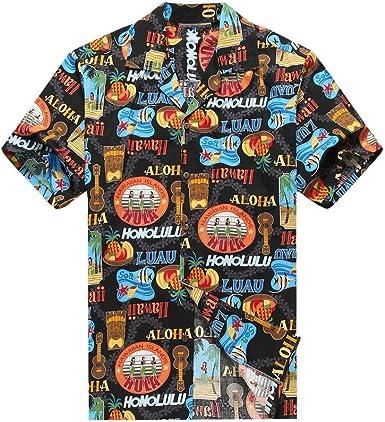 Hecho en Hawai de los Hombres Camisa Hawaiana Camisa de la Hawaiana S Hula Girls Ukulele Tiki Pescado en Negro: Amazon.es: Ropa y accesorios