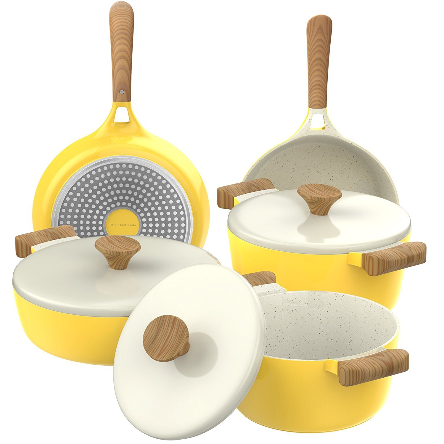 Vremi 8 Piece Ceramic Cookware Set セラミック調理器具セット - Induction Stovetop Compatible Dishwasher Safe Non Stick Pots and Frying Pans with Lids (並行輸入品) One Size Yellow and White B07CL34WDL