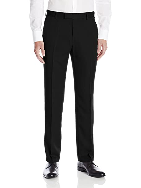 Kenneth Cole Reaction Men's Urban Heather Slim Fit Flat Front Dress Pant, Black, 32Wx30L