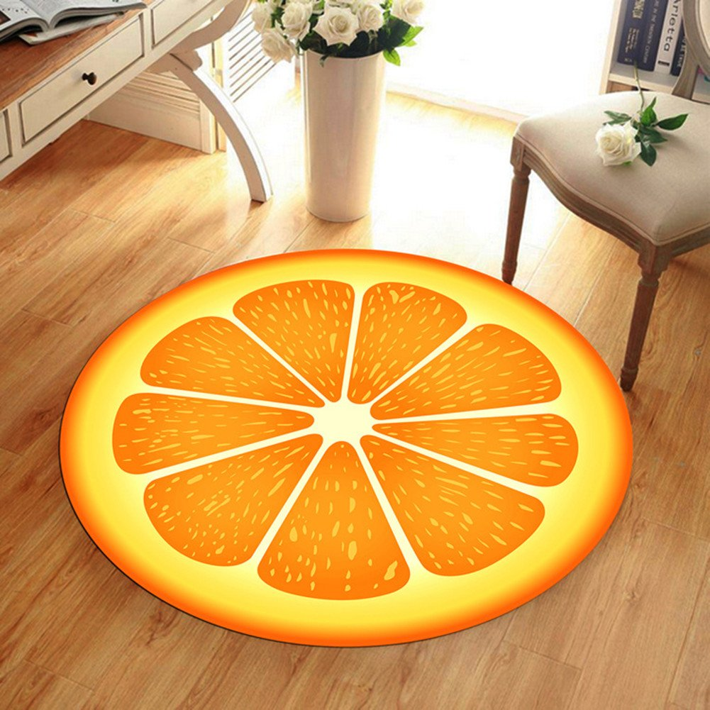 3D Fruits Design Circular Anti-slip Carpet Indoor Area Rugs Yoga Mats Desk/Chair Mat for Home Living Room,Bedroom and Kitchen, Lemon