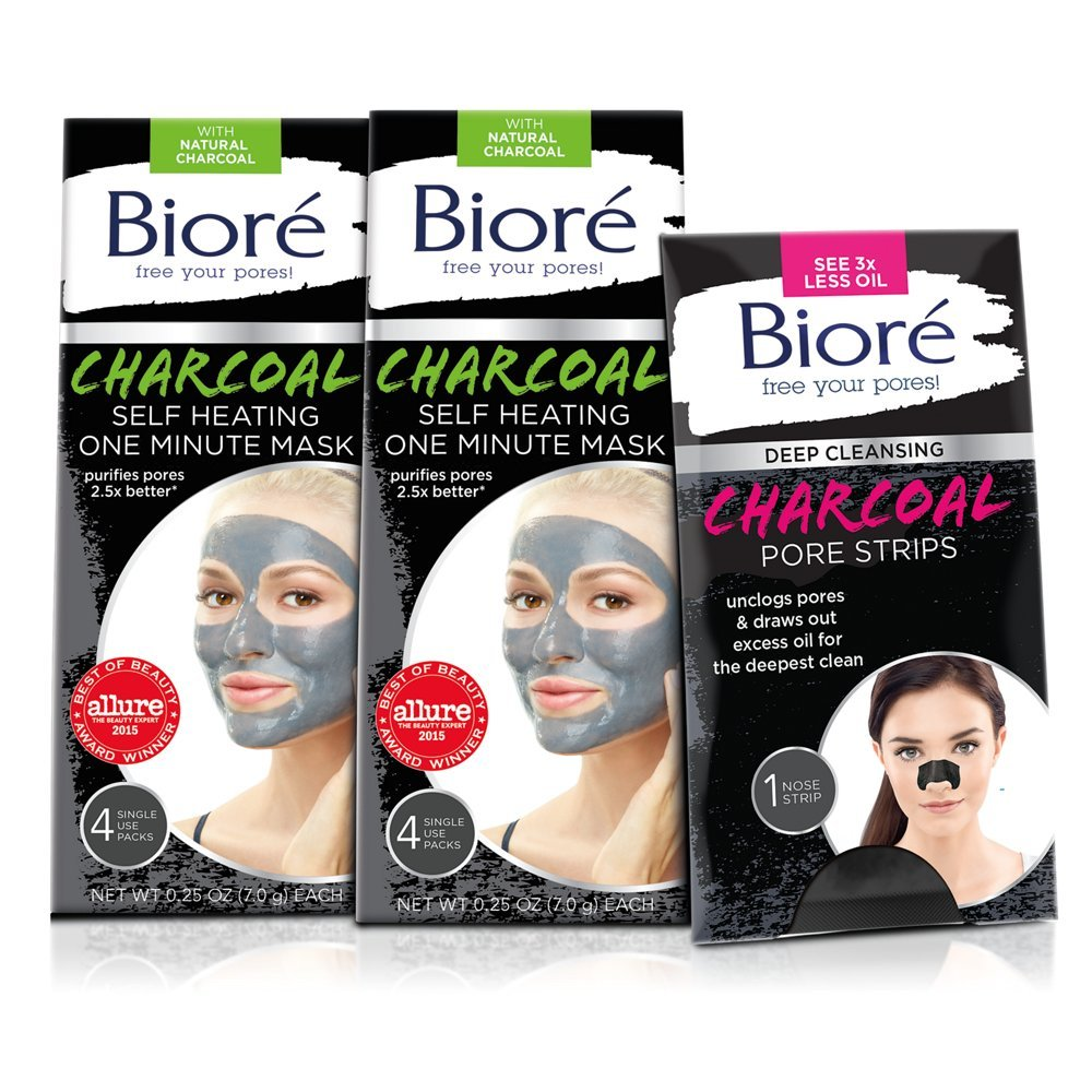 Bioré 2-PACK Charcoal Self-Heating One Minute Mask (4 Count) + One Bioré Deep Cleansing Charcoal Pore Strip for Nose