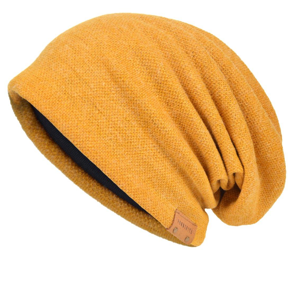 VECRY Men's Cool Cotton Beanie Slouch Skull Cap Long Baggy Hip-hop Winter Summer Hat (Ginger)