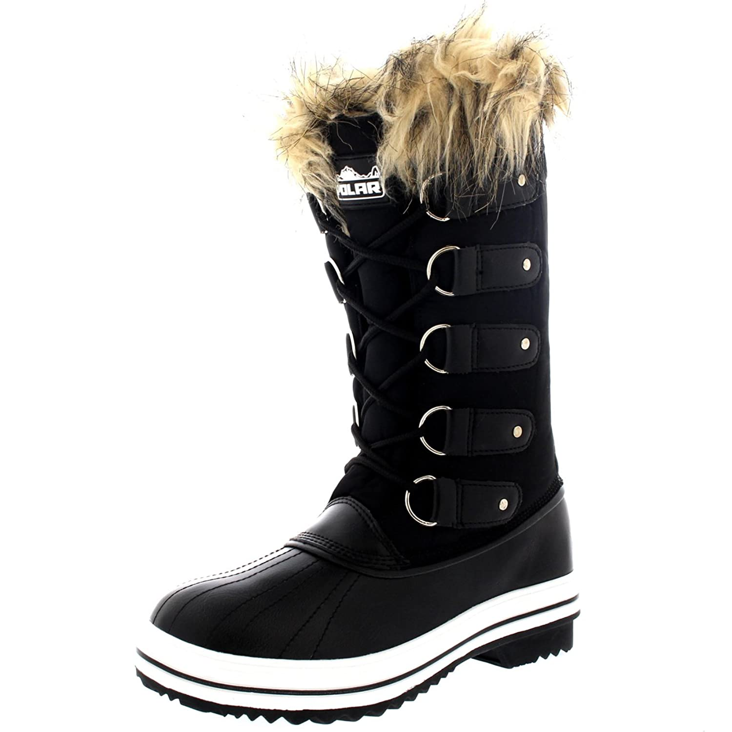 POLAR Womens Cuff Lace Up Rubber Sole Tall Winter Waterproof Snow Rain Shoe  Boots