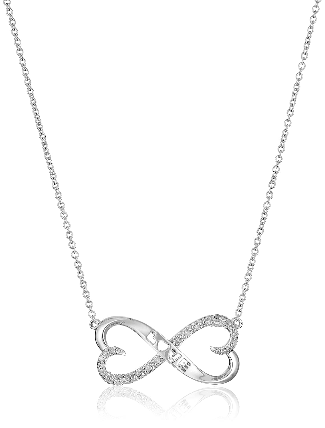 """Sterling Silver 1/10cttw Diamond Heart Necklace, 18"""""""