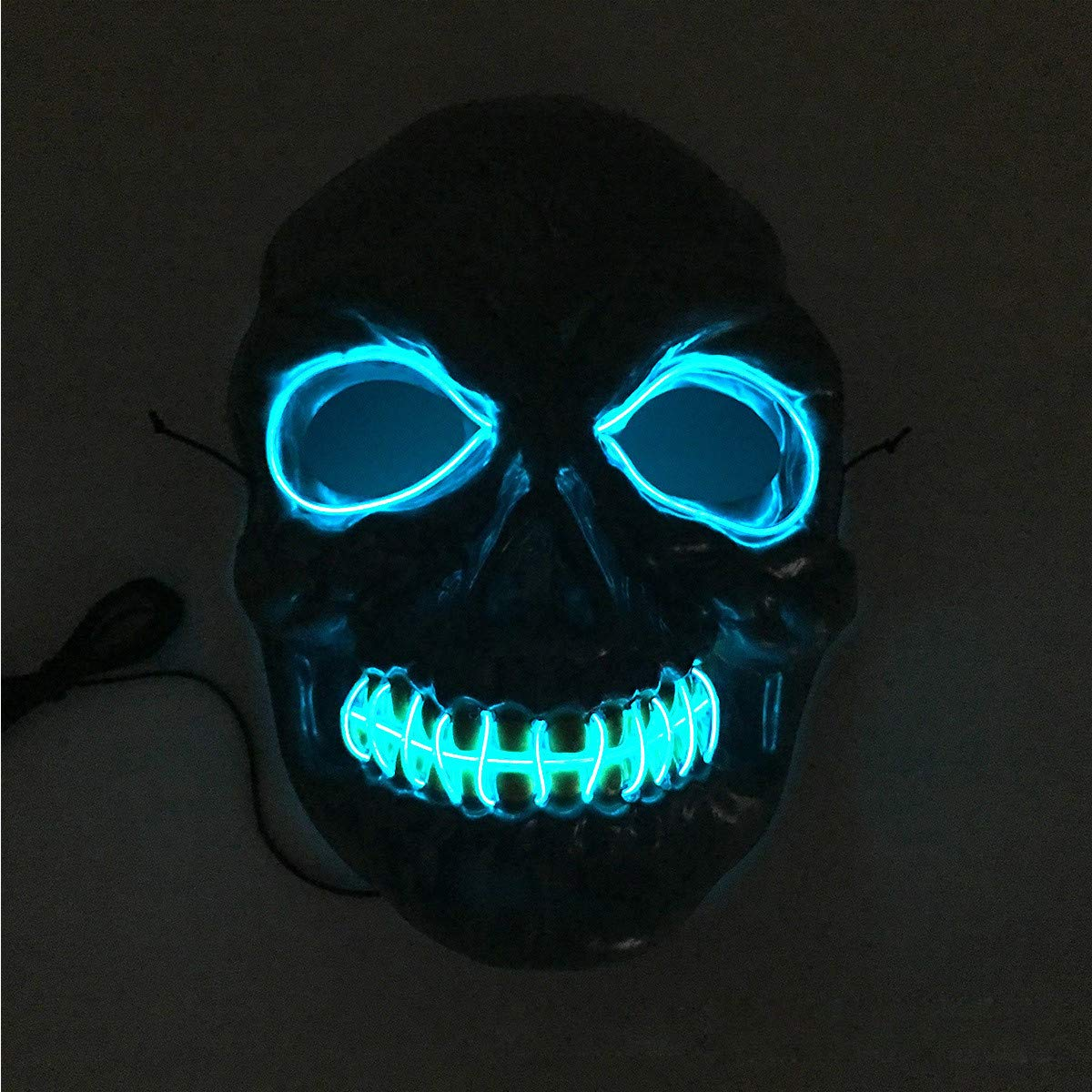 Halloween Skeleton LED Mask Glow Scary EL-Wire Light Up Cosplay Masks Party Show