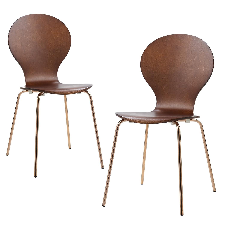 Versanora Contorno Dining Chairs (Set of 2), Walnut/Rose Gold
