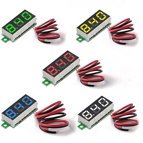 MakerHawk Digital DC Voltmeter 5pcs Mini 0.28 Inch Two-Wire 2.5V-30V Mini Digital DC Voltmeter Voltage Tester Meter 5 Colours