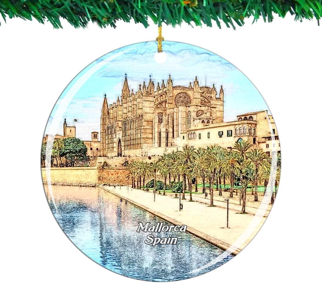 Weekino Spanien Palma Mallorca Kathedrale Weihnachtsverzierung Stadt Reise Souvenir Sammlung Doppelseitig Porzellan 2,85 Zoll H/ängende Baumdekoration