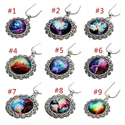 #2 Galaxy Sky Nebula Space Glass Cabochon Silver Alloy Pendant Necklace by 24/7 store