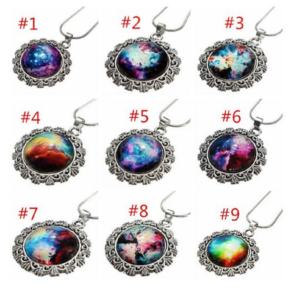 #9 Galaxy Sky Nebula Space Glass Cabochon Silver Alloy Pendant Necklace by 24/7 store