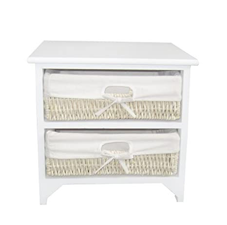 Miraculous Btm 2 Drawer Wooden Storage Wardrobe Cabinet With Wicker Drawers Baskets Bedroom Bathroom White M Ocoug Best Dining Table And Chair Ideas Images Ocougorg
